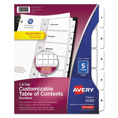 Ave 11130 Avery Ready Index Customizable Table Of Contents Black White Dividers 5 Tab Letter Avery 11370 Template