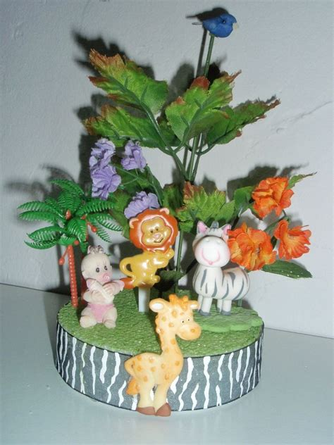 Safari Baby Shower Centerpieces by Jungle Safari Theme Baby Shower Topper Cakes