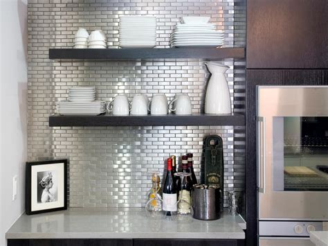 kitchens with stainless steel backsplash stainless steel tile backsplashes hgtv