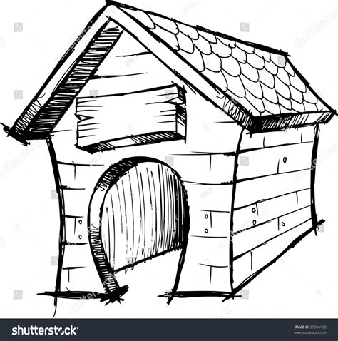 dog house sketch doodle sketch dog house vector illustration stock vector 37896112 shutterstock