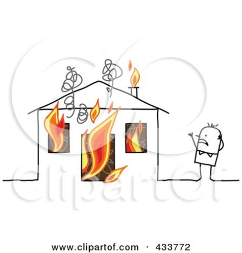 Stick Man Standing Near His Burning House Posters, Art