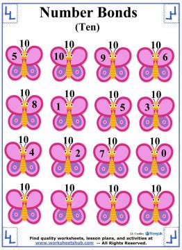 number bonds to 10 addition worksheets