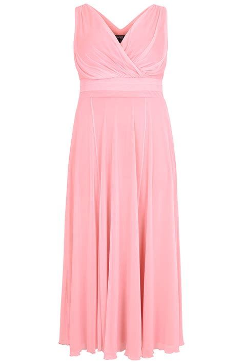 Maxi Pink jo pink marilyn wrap front maxi dress plus size 16 to 32
