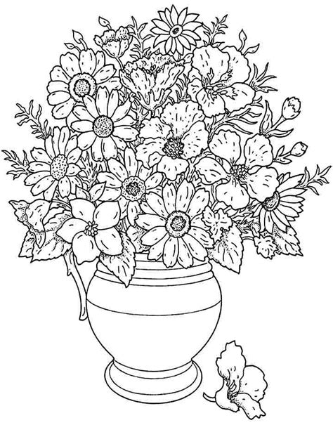 Bouquet Flowers Coloring Sheets Printable Free For Little Flower Bouquet Coloring Pages