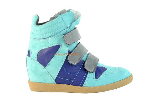 qupid wedge sneakers qupid mint green blue suede pumped up wedge velcro fashion