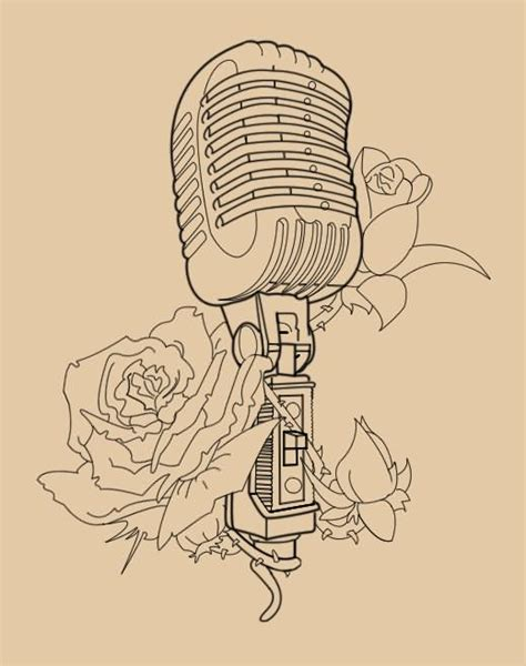 Microphone Tattoo Outline | 15 unique microphone tattoo designs