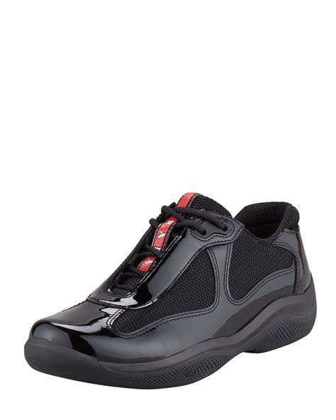 prada athletic shoes lyst prada wedge sneaker black in black