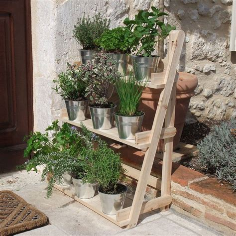 3 Tier Wooden Flower Stand Herb Plant Pot Shelves Garden Patio Herb Planters