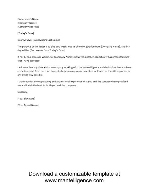 3 Highly Professional Two Weeks Notice Letter Templates Notice Resignation Letter Template