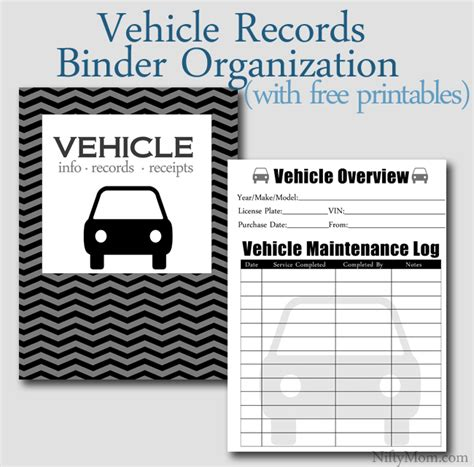 Vehicle Records Vehicle Documents Binder Organization Free Printables