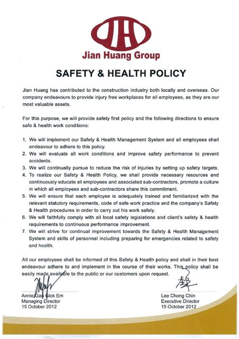 company health and safety policy template health and safety policy exles pictures to pin on