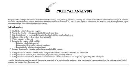 What Is Critical Analysis Essay by Critical Analysis Active Looking