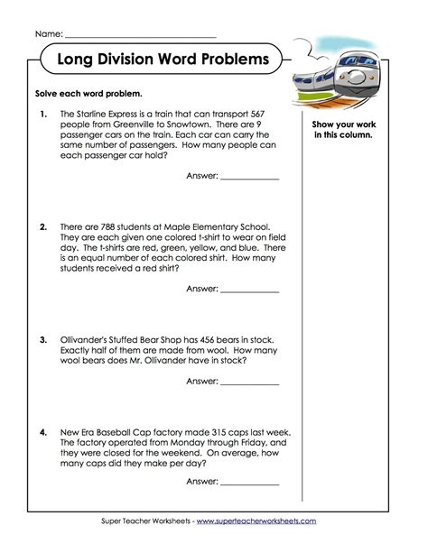 Division Word Problems Worksheets by Integer Word Problems Worksheets