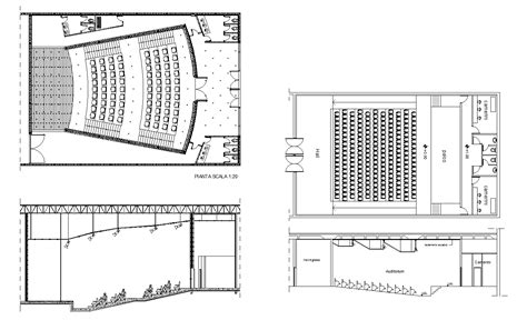 auditorium plan and section auditorium section 3 free cad blocks drawings download