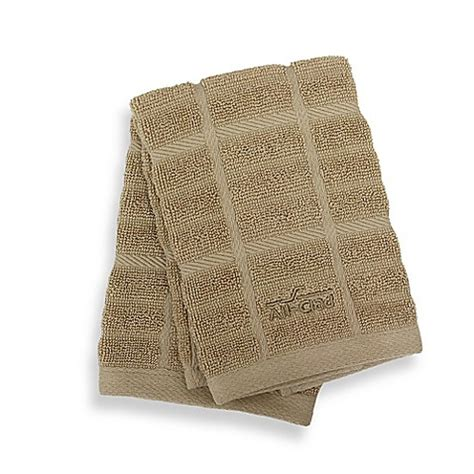all clad solid kitchen towel www bedbathandbeyond com buy all clad solid dish cloths in cappuccino set of 2