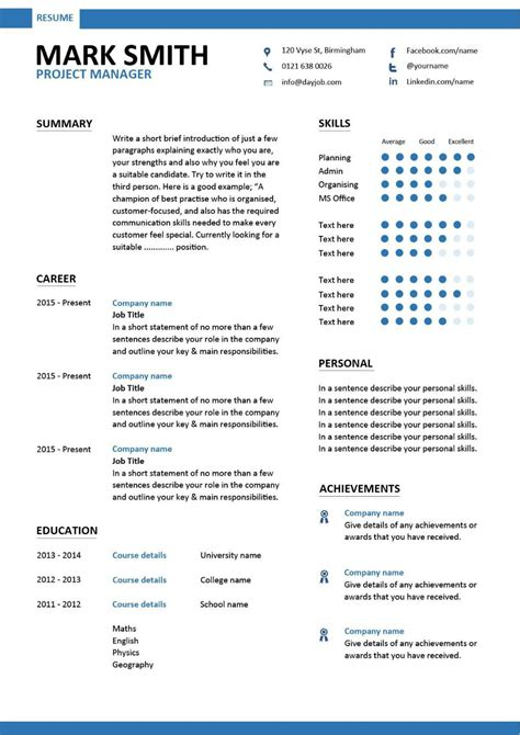 Management Resume Templates Free by Project Manager Cv Template Construction Project
