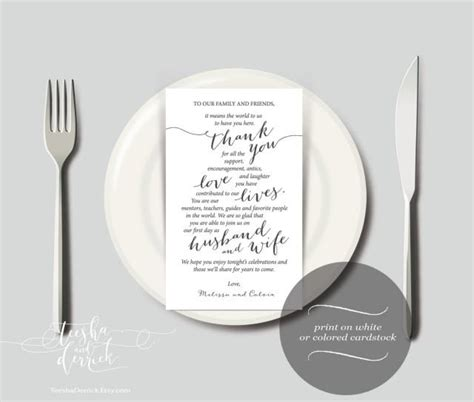 thank you place cards template wedding place setting thank you instant printable