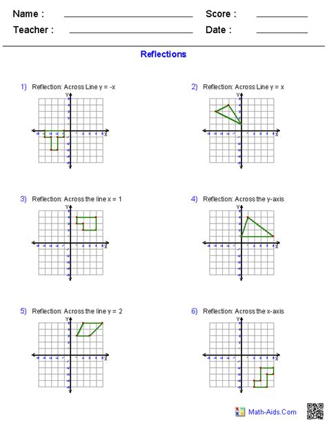 Reflection Worksheet Answers by Geometry Worksheets Transformations Worksheets