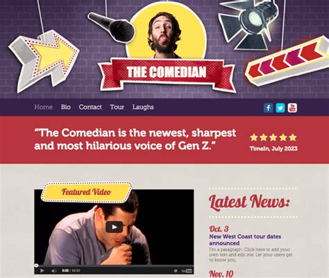 10 Beautiful Free Website Templates For Actors Entertainers Actor Website Templates Free