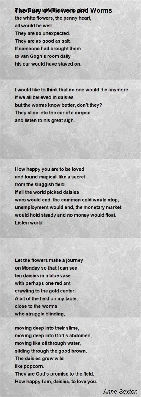 fury  flowers  worms poem  anne sexton poem