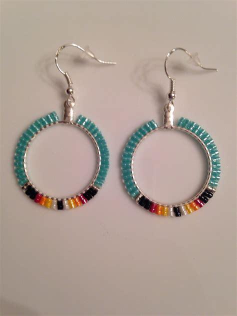 american beaded earrings turquoise 1 4 inch