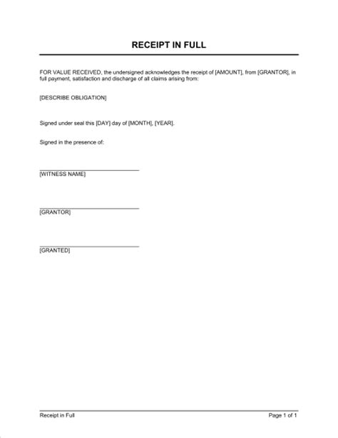 receipt template document receipt template sle form biztree