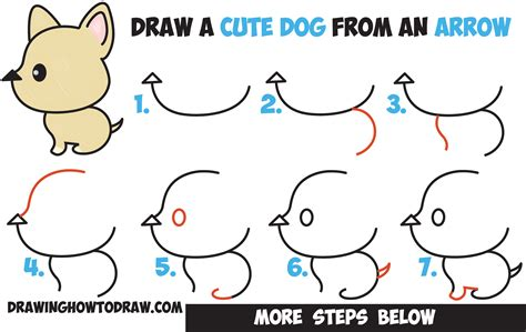 how to draw a puppy easy how to draw a kawaii style from an arrow easy step by step drawing