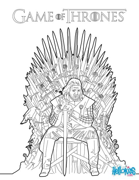 of thrones coloring book from season 7 books of thrones ned stark sitting on the iron throne