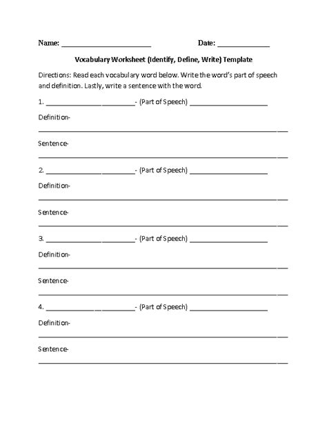 Vocabulary Definition Template by 14 Best Images Of Vocabulary Matching Worksheet Template