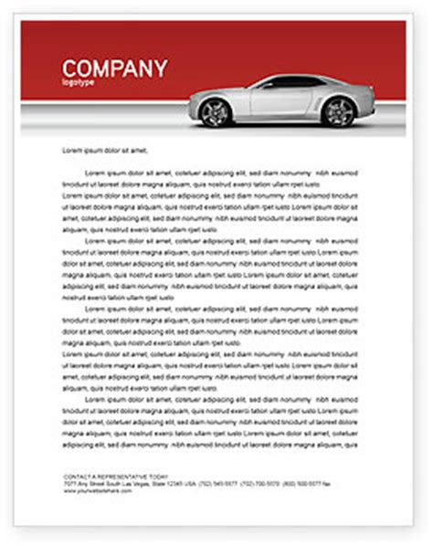Rent A Car Letterhead Supercar Letterhead Template Layout For Microsoft Word Adobe Illustrator And Other Formats