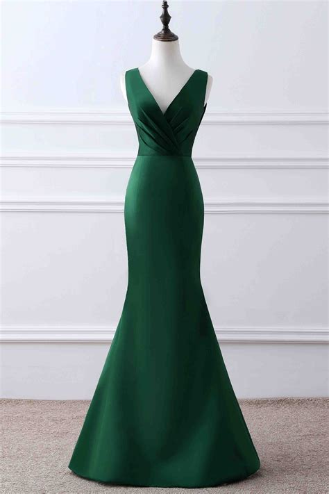 green matte satin  neck mermaid unique design evening