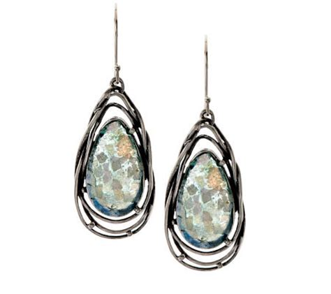 or paz sterling glass teardrop dangle earrings qvc