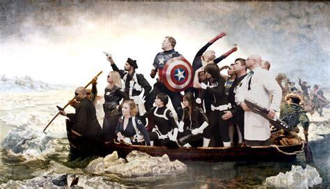 george washington painting boat instead of george washington captain america crosses the