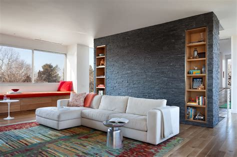 black wall feature living room