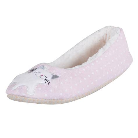 womens novelty slippers womens novelty pink cat ballet slippers ballerina kitten