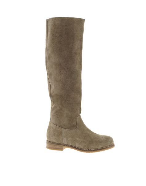 suede high boots asos casanova suede knee high boots in brown taupe lyst