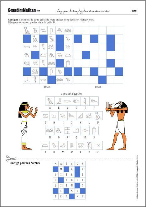 Un Jeu De Logique Cm1 Hi 233 Roglyphes Et Mots Crois 233 S