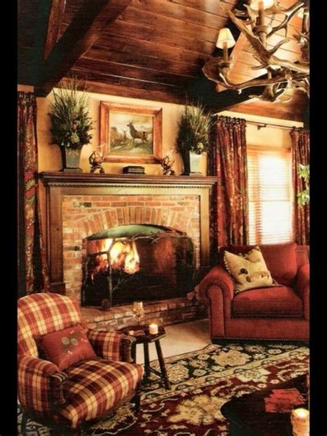 cozy bedroom fireplace home decor pinterest warm wood paneled country cottage cabin cozy cabin or