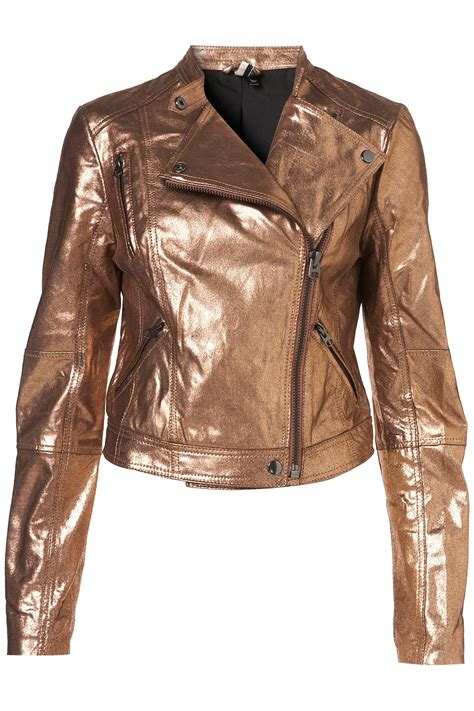 Jaket Denim Hoodie Wanita Lyst Topshop Metallic Clean Leather Jacket In Metallic