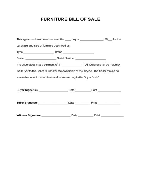 free furniture bill of sale form pdf word eforms