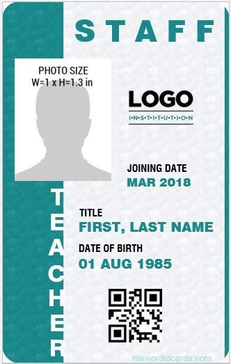 Contractor Id Card Template by 10 Best Ms Word Id Card Templates For Teachers Professors