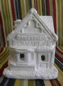 New artminds unpainted ceramic christmas village gingerbread bakery