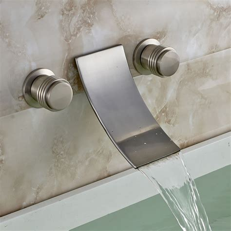 Wall Mount Waterfall Tub Faucet Brushed Nickel by Brushed Nickel Waterfall Spout Bath Sink Faucet Wall Mount 3 Holes Tub Mixer Tap Ebay