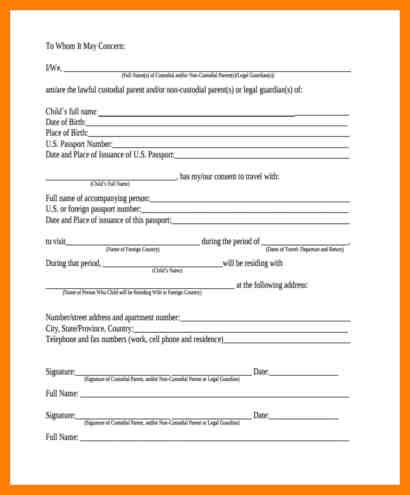 free child travel consent form template 5 free child travel consent form template artist resumes