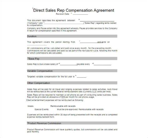 compensation plan template free word pdf documents