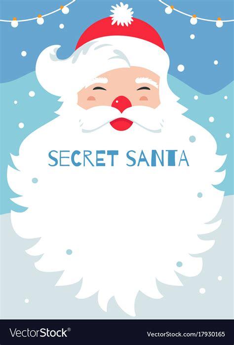 secret santa gift card template secret santa present exchange poster vector image