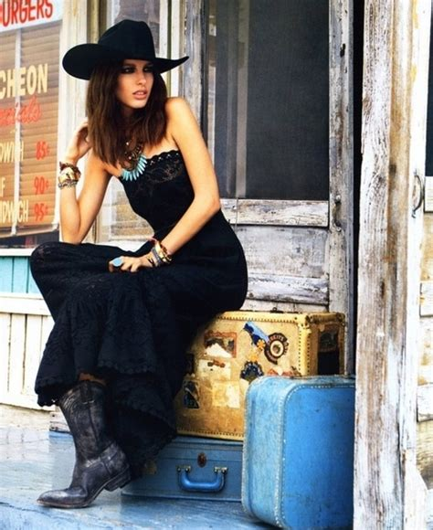 wearing tons to bed long black dress w cowboy boots country girl style