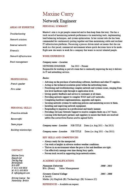 resume format for network engineer network engineer resume it exle sle technology