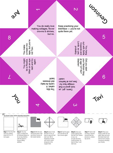 Folded Paper Fortune Teller - are you tavi gevinson free printable cootie catcher for