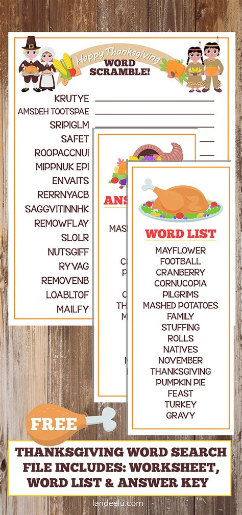 Turkey Trouble Worksheet Answers by Thanksgiving Worksheet Word Scramble Landeelu
